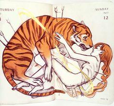 Rebirths by Qinni. Fanart, Animal Espiritual, Art Sketches, Art Drawings, Qinni, Character Art, Character Design, Big Cats Art, Tiger Art