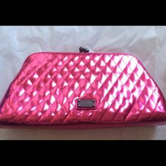 Moschino Clutch Beautiful quilted kiss lock clutch! Fuchsia colored patented finish!  Leather. Made in Italy. 10 X 5 X 2 corners have some discoloration!  Please see pictures!  Kiss lock adorned with rhinestones! (PB2) Moschino Bags Clutches & Wristlets