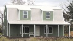 Steel Gambrel Home Building Shell Kit STEEL BUILDING SHELL KIT Gambrel, 2 Story with porches 1920 sq ft enclosed ft porches (photo light green w white roof). Gambrel Style kit, wide x long, side wall. Home Building Kits, Metal Shop Building, Steel Building Homes, Building A House, Pole Barn House Plans, Pole Barn Homes, Shop House Plans, House Kits, House Ideas