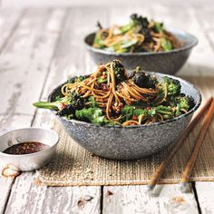 Soba noodle salad with broccoli and a sweet soy and ginger dressing, an easy vegan recipe for a healthy dinner or packed lunch