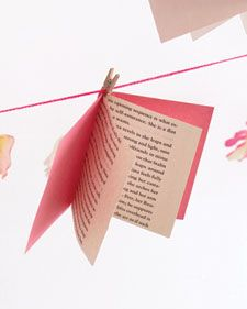 How to make a book garland for a Baby Shower Book theme. Source: http://www.marthastewart.com/341472/miniature-books