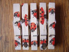 Decoupage Clothespin Magnets, Memo Magnets, Fridge Magnets, Lady Bugs