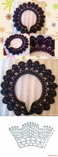 41 ideas for crochet lace pattern collar Crochet Collar Pattern, Col Crochet, Crochet Lace Collar, Irish Crochet, Crochet Motif, Crochet Shawl, Crochet Flowers, Crochet Stitches, Crochet Baby