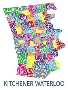 Typographic Map of Kitchener Ontario by AllOverTheMapStudios