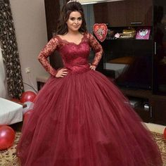 Online shop new arrival wedding dress lace long sleeve ball gowns robe de mariage appliques burgundy tulle bridal gowns aliexpress mobile. Tulle Ball Gown, Ball Gowns Prom, Pageant Gowns, Ball Dresses, Bridal Dresses, 15 Dresses, Evening Dresses, Formal Dresses With Sleeves, Wedding Dress Sleeves