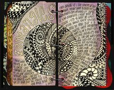 altered books and journals #journal zentangles #zentangles #tangles #doodles