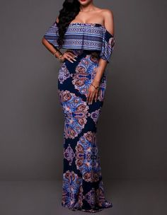 Casual Blue Paisley Bardot Off The Shoulder Boho Maxi Dress