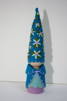 Turquoise teal blue felt gnome Waldorf inspired flower fairy elf sprite nature table play doll.