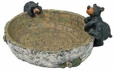 """Willie Black Bear Bowl with Paw Prints Inside (Great Candy Dish) 9.5"""" by WD. $17.95. Made of polyresin. Pawprints in center of dish. 9.5"""" x 8"""". Rustic birch wood detail. Two bears climbing on bowl. Bowl with bears that has pawprints inside the bowl that would make an excellent candy dish on a desk or table. Makes an excellent gift. 9.5"""" x 8""""."""