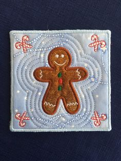 Gingerbread boy - mug rug - coaster -Machine embroidery -  in the hoop design -ITH - seasonal sweets design by LLHembroidery on Etsy