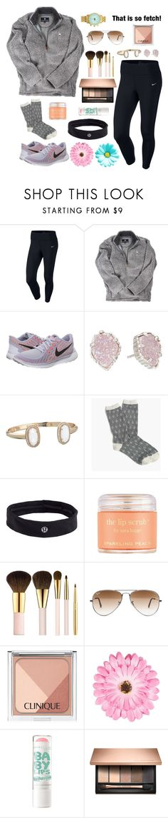 """☀️"" by evamstewart24 ❤ liked on Polyvore featuring NIKE, Kendra Scott, J.Crew, lululemon, Sara Happ, AERIN, Ray-Ban, Clinique and NLY Accessories"