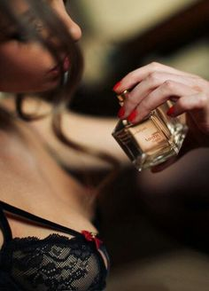 And God created woman.woman, black lace lingerie bra and sexy perfume