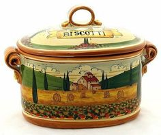 PAESAGGIO TOSCANA: Oval Biscotti Canister Jar [#P45P-PAE] by Artistica Italian Ceramics. $289.00. Authentic Artistica's product fully handcrafted in Italy.. Item Size: 13W.X9H. Inches.. 100% Food Safe - Dishwasher Safe. Masterfully Hand-Painted in Italy!. Artistica's Exclusive Product. PAESAGGIO TOSCANA:Our all new Paesaggio Toscana collection masterfully depicts iconic Tuscan landscape themes.The fully hand painted design is very detailed and each piece feature a h...