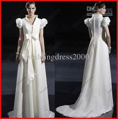 Wholesale Wedding Dresses - Buy Vintage European Ivory A-line High Collar Lace Short Sleeves Palace/court Wedding Dresses With Train, $122.93 | DHgate