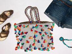 Многоцветный сумка с кистями