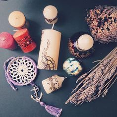 Henna candles, candle holders, dream catchers are some of the things we have available at our shop.