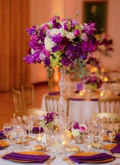 Photographer: The Youngrens; Wedding reception centerpiece idea;