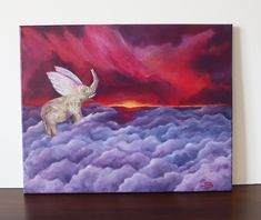 The flying elephant, Acrylic painting on canvas 40x50cm ©Billy Cute Paintings, Acrylic Painting Canvas, Flying Elephant, Original Artwork, Moose Art, Things To Come, The Originals, Artist, Etsy