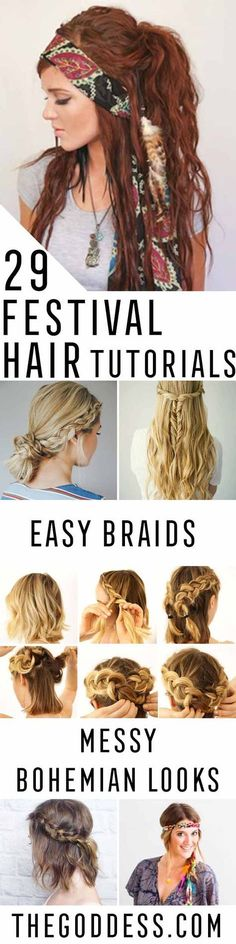 Festival Hair Tutorials - Short Quick and Easy Tutorial Guides and How Tos for Braids, Curly Hair, Long Hair, Medium Hair, and that Perfect Updo - Great Ideas for That Summer Music Edm Show, Whether It's A New Hair Color or Some Awesome Accessories and Flowers - Boho and Bohemian Styles with Glitter and a Headband - thegoddess.com/festival-hair-tutorials