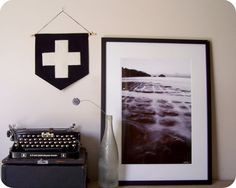 Swiss cross felt banner, Plus sign wall hanging, 100% wool felt handstitched wall art by Hung Up On Agnes on Etsy, $59.91