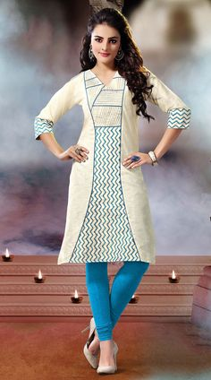 Classy white khadi cotton kurti which is beautified with resham and embroidery work. This readymade Kurti comes in bust size 40 and 44 inches.Legging can be purchased additionally. They are not a part of this kurti.