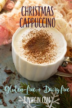 This healthy cappuccino recipe has an added boost of protein. Topped with a cloud of coconut milk foam and cinnamon, it's just right for the holidays! Get this gluten free, dairy free, healthy protein shake recipe now. Shake Recipes, Milk Recipes, Coffee Recipes, Smoothie Recipes, Smoothies, Cocunut Milk, Cappuccino Recipe, Healthy Food Swaps, Healthy Recipes