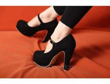 New Women Sexy Suede Mary Jane Ankle Strap Platform Stilettos High Heel Pump Shoes XZ398#M4(China (Mainland))