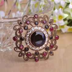 Blue Crystal Brooches For Women Turkish Jewelry Gold-color Brooch Corsage Vintage Hijab Pins Dress Hair Accessories Wholesale