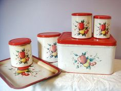 1950's 6 Piece Set of Canisters, Tray, and Bread Box Apple Design.