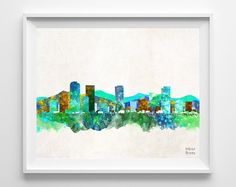 Denver Skyline, Print, Watercolor, Poster, Colorado, Cityscape, City Painting, State, Illustration, Art, Giclee Wall, Home, Decor [NO 194]