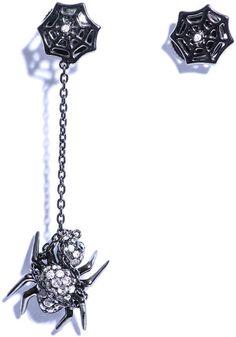 Grey Black Diamond Web Spider Earrings