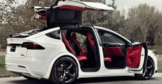 Custom Tesla Model X With Bentley Red Interior Selling For $180K #ebay #Electric_Vehicles