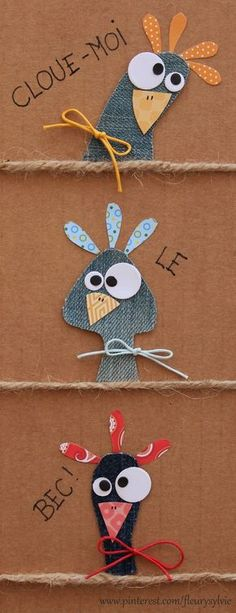 Gotta figure out how to make these little guys with punches Bird Crafts, Felt Crafts, Easter Crafts, Fabric Crafts, Diy And Crafts, Crafts For Kids, Arts And Crafts, Artisanats Denim, Denim Art
