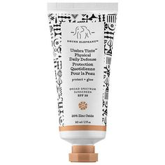 Drunk Elephant Umbra Tinte Physical Daily Defense Broad Spectrum Sunscreen SPF 30, $36, available at Sephora. The brand updated its popular original physical sunscreen formula with a faint tint, which is intended to make skin look golden (rather than chalky). The marula-oil-spiked sunscreen offers hydrating yet lightweight coverage, and it does so with a 20 percent concentration of zinc oxide, meaning it's an excellent option for anyone who may be looking to avoid traditional chemical-based