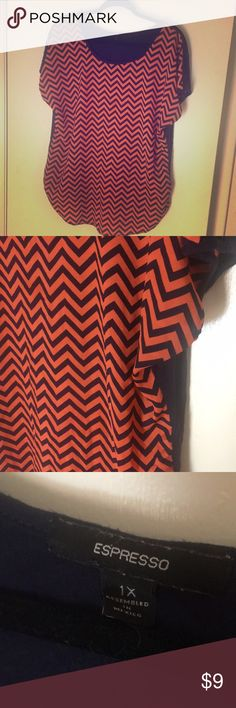 Chevron print shirt Coral and navy chevron print, back is solid navy. Espresso Tops Blouses