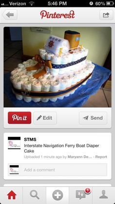 Nautical Theme Baby Shower: Boat Diaper Cake | Starring the Middle Sister