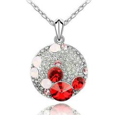 ANNGILL Classic Cute Mickey Head Pendant Necklace Made with Swarovski Elements Crystal 2017 for Girlfriend Best Gift Wholesale Fashion Jewelry Stores, Fashion Jewellery Online, Trendy Jewelry, Red Necklace, Crystal Necklace, Pendant Necklace, Colar Fashion, Fashion Necklace, Ruby Pendant