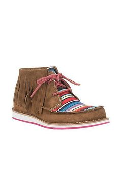 Ariat Ladies Dark Brown with Serape and Fringe Moc Cruiser Shoe | Cavender's