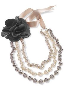 Multi-Strand Faux Pearl Necklace with Detachable Rosette Pin