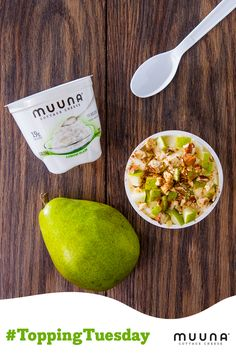 We're celebrating #ToppingTuesday by adding fresh raspberries, sliced pear, and crunchy chopped pecans to Peach Muuna cottage cheese.