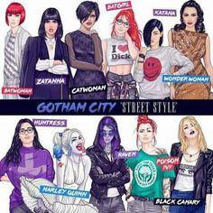 Amazing interpretation of the ladies of Gotham wearing modern street style. Joker Cosplay, Batwoman, Batgirl, Catwoman Comic, Nightwing, Gotham City, Bd Pop Art, Suicide Squad, Accel World
