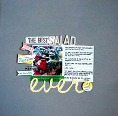 emilypitts-bestsalad uses the March 2014 kit, Grey Street and add on Emerald Isle. What's On the Menu stamp set too. #scrapbooking #stamping #salad #love #gorgonzola  #food #arugula