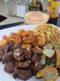Restaurant quality Hibachi dinner made right in your kitchen! This recipe details step by step instructions on how to make a fun and delicious meal! Hibachi Chicken And Shrimp Recipe, Hibachi Steak And Shrimp Recipe, Hibachi Shrimp, Hibachi Recipes, Grilling Recipes, Beef Recipes, Chicken Recipes, Recipies, Cooking Recipes