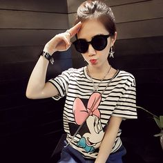 Cheap camiseta feminina, Buy Quality printed t shirt women directly from China t shirt women summer Suppliers: Short Sleeve Mickey Print T shirt Women Summer Fashion Casual Style Tee shirt Femme Striped Color Camisetas Feminina Womens Fashion Casual Summer, Women's Summer Fashion, Fashion Women, Mickey Mouse, Off White Hoodie, Style Casual, Stripes Fashion, Harajuku, T Shirts For Women