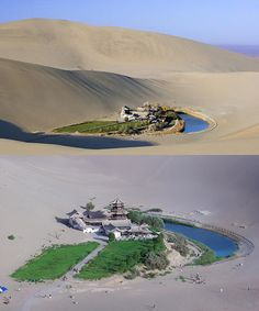 Crescent Lake: This desert oasis located south of Dunhuang in western China. It is a wonder in the Gobi desert. Desert Oasis, Desert Life, China Architecture, Historical Architecture, Places Around The World, Around The Worlds, Beijing, Crescent Lake, Dunhuang