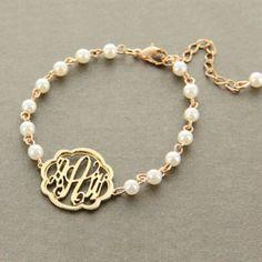Gold Filigree Monogram And Pearl Bracelet