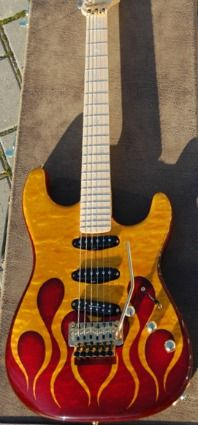 """Warmoth Custom Guitar Parts - Gallery Entry.""""Hot Rod"""" Strat - One Piece Quilt Maple Body with Custom Paint Job."""