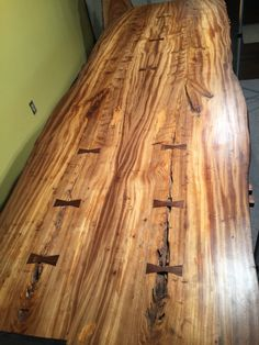 """This spectacular table is 8'10"""" in length, 3'2""""in width, stands 28 1/2"""" tall and is 1 1/2"""" thick. One could search their entire lifetime and not find another Butternut with figuring like this majestic"""