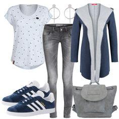 Freizeit Outfits: BluemeetsGrey bei FrauenOutfits.de ___ #outfit #damenoutfit #fashion #fashioninspiration #lookbook #stylebook #outfitinspiration #freizeitoutfit #casual #casualstyle #naketano #adidas