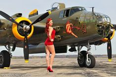 "cloggo: "" AIRCRAFT PINUP Kelly Kirstein poses with the Liberty Aviation Museum's B25 Mitchell bomber. Pic from HERE More Liberty Aviation Museum HERE & HERE More Kelly Kirstein HERE """